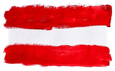Нарисованный разноцветными красками флаг Австрии