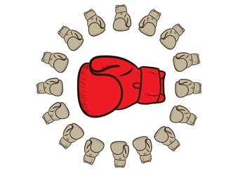 Red boxing glove is surrounded