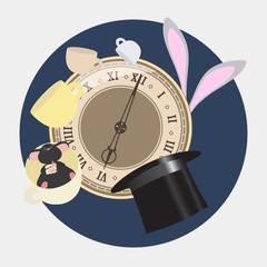Alice in Wonderland. Mad tea party with Hatter, Dormouse, White Rabbit. Alice in Wonderland. Retro illustration.