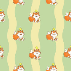 Seamless pattern with funny cartoon  foxes and butterflies on  green background. Vector image.