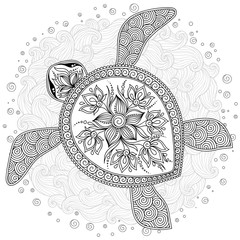 Coloring book pages for kids and adults. Decorative graphic turt