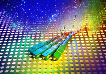optical fibres dinamic flying from deep on technology background