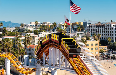 section of a rollercoaster on santa monica pier Wall mural