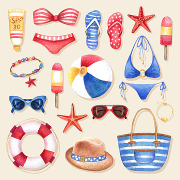 Fashion set of watercolor woman's beach accessories