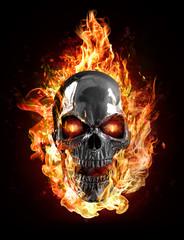 metal skull, flames