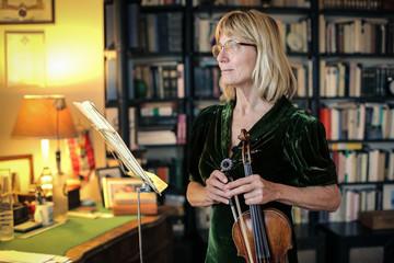 Violinist in her studio