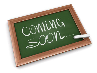 Blackboard  with Coming soon. Image with clipping path