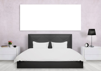 Isolated art canvas in bedroom. Bed, nightstand, lamp, plant, clock.
