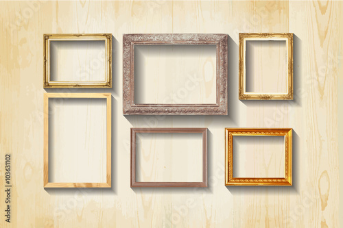 Set Of Vintage Classic Picture Wood Frame Stock Photo And Royalty