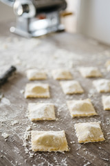 Fresh ravioli finished making prepared for cooking