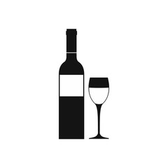 Red wine bottle icon, simple style