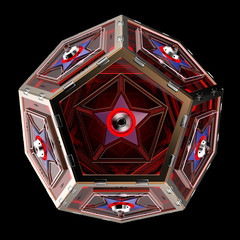 abstract techno object. Pentagonal dodecahedron with star in center of each face.