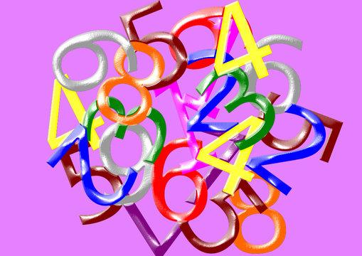 chiffres mélangés colorés,fond