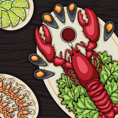 delicious lobster and shrimp image for the menu. Vector illustration