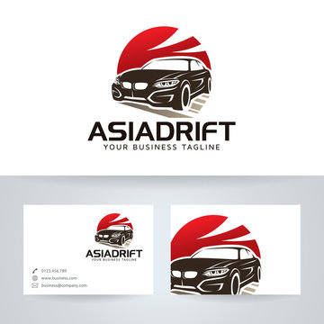 Asian Drift vector logo with business card template
