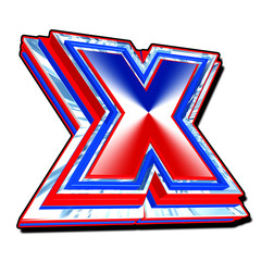 3D shiny vote X symbol  in UK red white and blue on a white back
