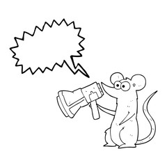 speech bubble cartoon mouse with megaphone