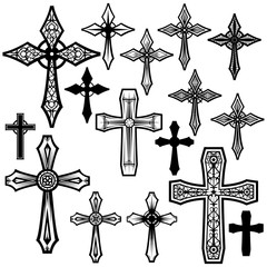 various vector cross shapes in silhouettes