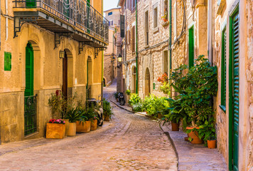 Wall Mural - View of an romantic street of a old mediterranean village at Spain
