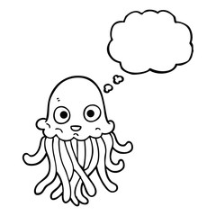 thought bubble cartoon octopus