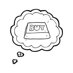 thought bubble cartoon computer key buy symbol