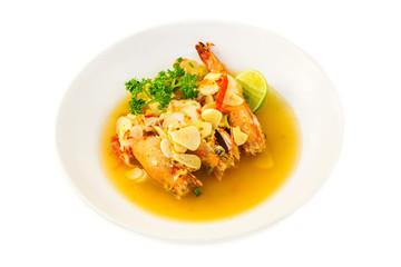 Boiled king prawns with garlic