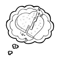 thought bubble cartoon broken heart symbol