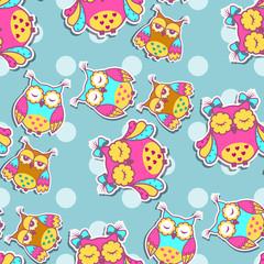 Poster de jardin Hibou Seamless pattern with colorful owls on spotty background