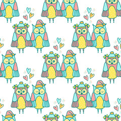 Autocollant pour porte Hibou Seamless pattern of colorful owls on a white background
