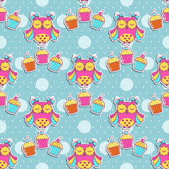 Photo sur cadre textile Hibou Seamless pattern with owls and cakes