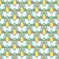 Photo sur cadre textile Hibou Seamless texture with owls on a white background