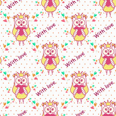 Beautiful seamless wallpaper with owls and a heart on a white background