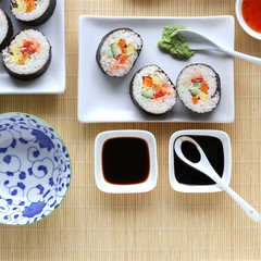 Sushi with Soy sauce and Wasabi