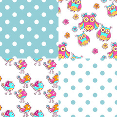 Four seamless sample with owls