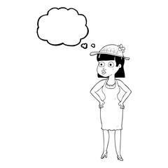 thought bubble cartoon woman wearing sun hat