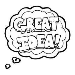 thought bubble cartoon GREAT IDEA symbol