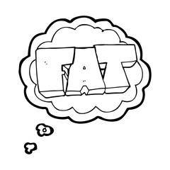 thought bubble cartoon FAT symbol