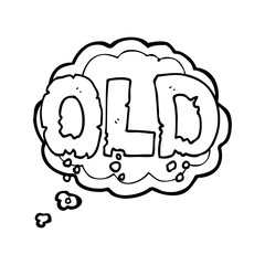 thought bubble cartoon word old