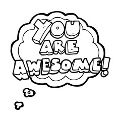 thought bubble cartoon you are awesome text