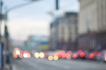 Blurry lights. Evening city bokeh. Defocused cityscape.