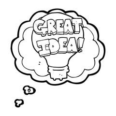 thought bubble cartoon great idea light bulb symbol