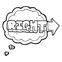 thought bubble cartoon right symbol