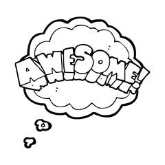 thought bubble cartoon word awesome