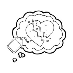 thought bubble cartoon luggage tag on broken heart