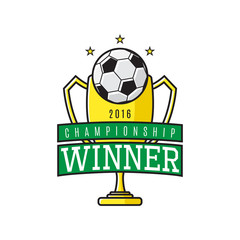 Vector label of football winner. Logo of championship winner with golden cup. Vector illustration.