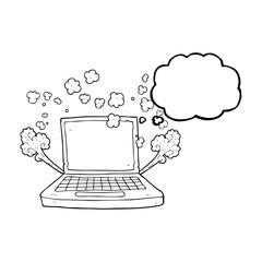 thought bubble cartoon laptop computer fault