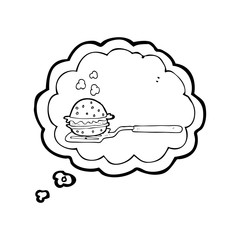 thought bubble cartoon spatula with burger