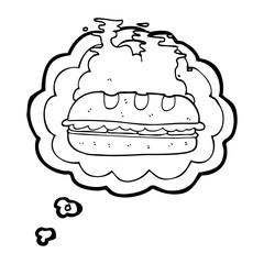 thought bubble cartoon huge sandwich