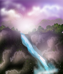Waterfall landscape illustration