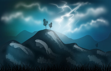 Stormy landscape illustration
